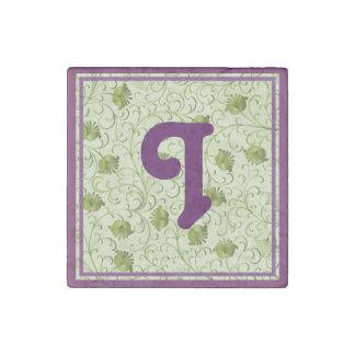 Green Spring Flowers I Monogrammed Stone Magnet