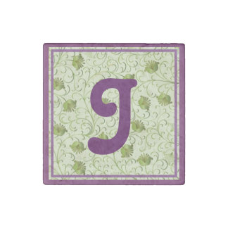 Green Spring Flowers J Monogrammed Stone Magnet