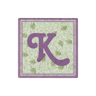 Green Spring Flowers K Monogrammed Stone Magnet