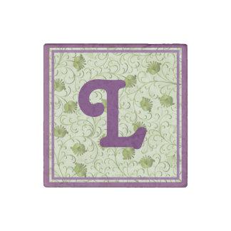 Green Spring Flowers L Monogrammed Stone Magnet