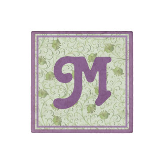 Green Spring Flowers M Monogrammed Stone Magnet
