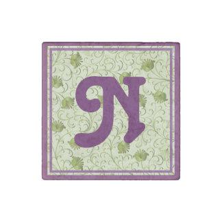 Green Spring Flowers N Monogrammed Stone Magnet