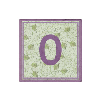 Green Spring Flowers O Monogrammed Stone Magnet