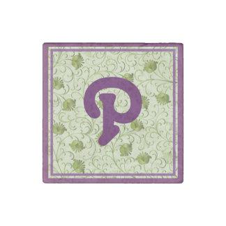 Green Spring Flowers P Monogrammed Stone Magnet