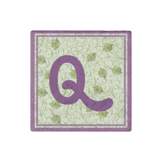 Green Spring Flowers Q Monogrammed Stone Magnet