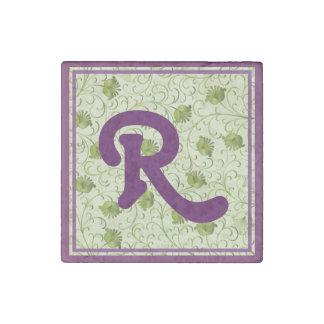 Green Spring Flowers R Monogrammed Stone Magnet