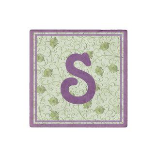 Green Spring Flowers S Monogrammed Stone Magnet