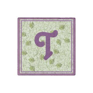 Green Spring Flowers T Monogrammed Stone Magnet