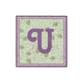 Green Spring Flowers U Monogrammed Stone Magnet