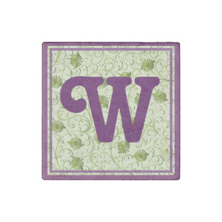 Green Spring Flowers W Monogrammed Stone Magnet