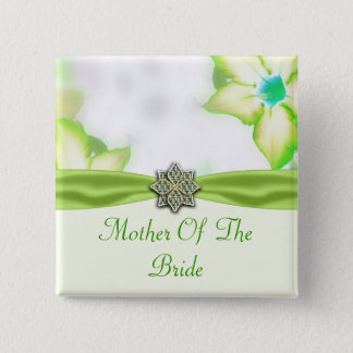 Green Spring Flowers Watercolor Wedding Pinback Button