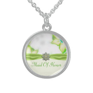 Green Spring Flowers Watercolor Wedding Sterling Silver Necklace