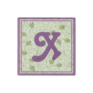 Green Spring Flowers X Monogrammed Stone Magnet
