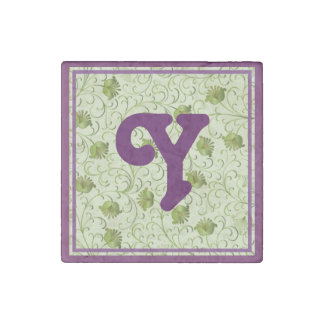 Green Spring Flowers Y Monogrammed Stone Magnet