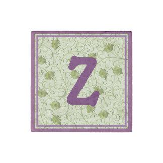 Green Spring Flowers Z Monogrammed Stone Magnet