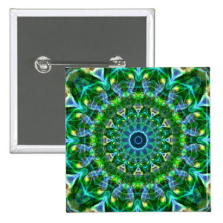 Green Spring Kaleidoscope Pinback Button