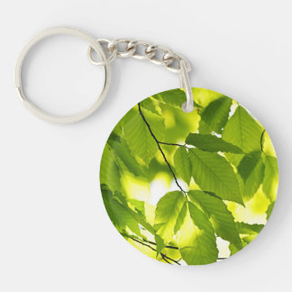Green spring leaves keychain