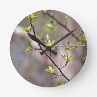 Green Spring Leaves on Gray Brown Round Clock