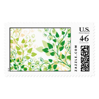 Green Spring Leaves Postage Stamps