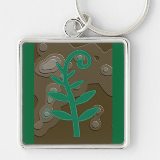 Green Sprout Silver-Colored Square Keychain