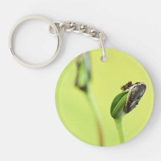 Green sprouts Double-Sided round acrylic keychain