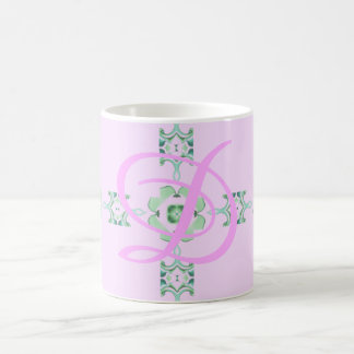 Green Square and Floral Kaleidoscope Pattern Coffee Mug