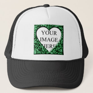 Green Square Frame with Heart Opening Trucker Hat