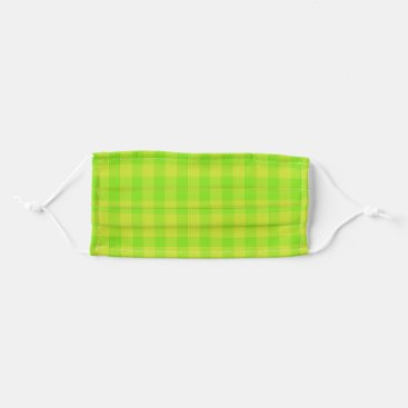 Green square pattern cloth face mask