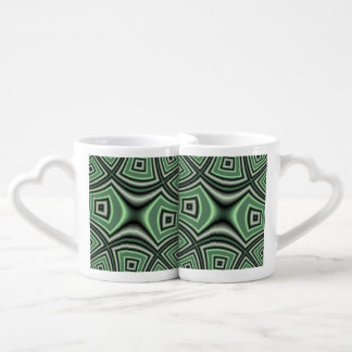 Green Square Pattern Couples' Coffee Mug Set