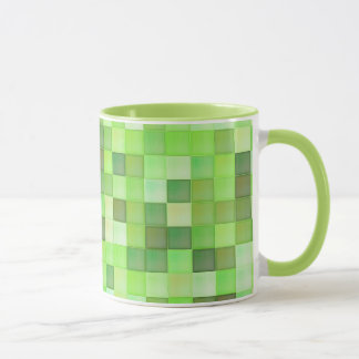 Green Square Pattern On Custom Mug