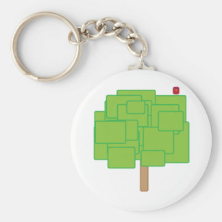 Green Square Tree with Red Bird Keychain