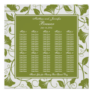 Green Square Wedding Reception Seating Chart