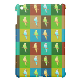 Green Squares and Budgies pattern iPad Mini Case