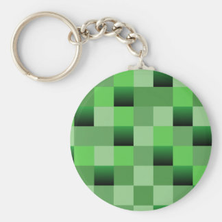 Green Squares Basic Round Button Keychain