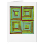 Green squares design stationery note card