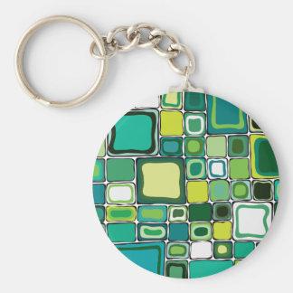 Green Squares Basic Round Button Keychain