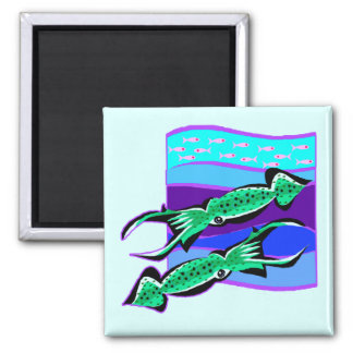 Green Squids 2 Inch Square Magnet