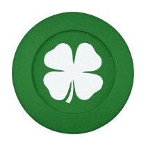Green St Patricks Day button covers with shamrock