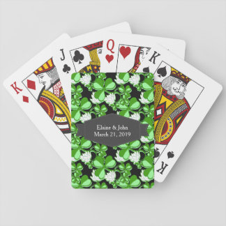 Green St. Patrick's Day Green Shamrock Ireland Playing Cards
