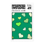 Green St Patricks Day Hearts Stamps