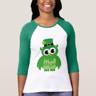Green St Patricks Day irish owl cartoon tee shirts
