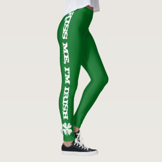 Green St Patricks Day leggings | Kiss Me I'm Irish
