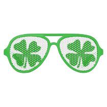 Green St Patricks Day shamrock party shades
