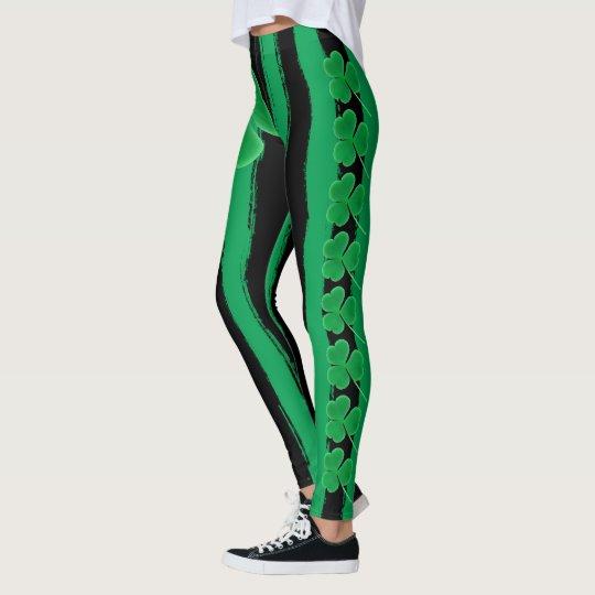 5123d3db42a097 Green St Patrick's Day   Shamrocks Irish Clovers Leggings   Zazzle.com