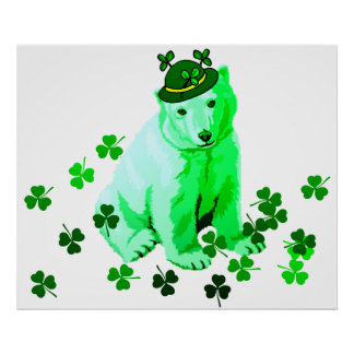 Green St. Patrick's Polar Bear Poster