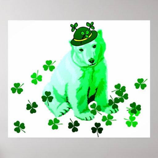 Green St. Patrick's Polar Bear Posters