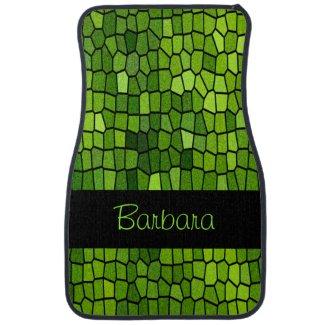 Green Stain Glass Design Car Mat