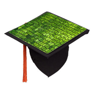 Green Stain Glass Look Graduation Cap Topper