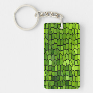 Green Stain Glass Look Keychain