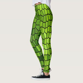 Green Stain Glass Mosaic Leggings